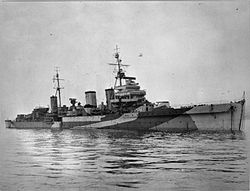 The Enterprise in late 1943. The 152 mm twin turret on the forecastle is clearly visible.