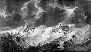 HMS Hector and HMS Bristol in a Hurricane 1780.jpg