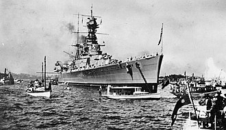 HMS Hood - HMS Hood in Sydney Harbour shortly after arriving with the other ships of the Special Service Squadron during their world tour, on 9 April 1924