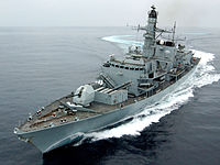 HMS Montrose, a Type 23 Frigate, performed a series of tight turns, during Marstrike 05. MOD 45145955.jpg