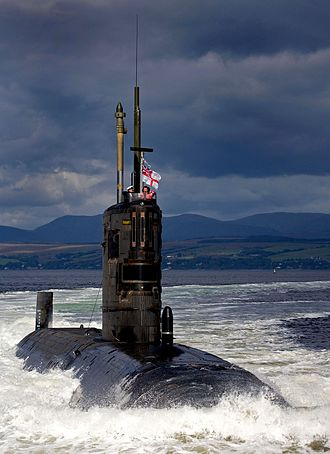 Pennant (commissioning) - HMS Tireless: her commissioning pennant can be seen flying above and behind her white ensign