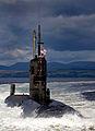 HMS Tireless in the Clyde Estuary leaving HMNB Clyde MOD 45147732.jpg