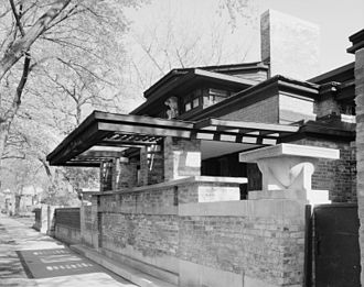 Prairie School - Chicago Avenue side of architect Frank Lloyd Wright's home and studio in Oak Park, Illinois, showing post-1911 changes to studio (building.