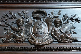Neubourg Abbey - Coat of arms of the Abbey on a Baroque panelling, now in the St Nicholas Church of Haguenau.