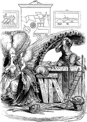 Hairdresser - A caricature of a French hairdresser at the Académie de Coiffure, working on a large hairstyle, fashionable of the time, in the 18th century.