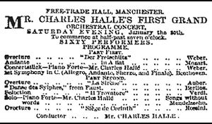 The Hallé - The Hallé's first programme (1858)
