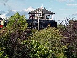 Hammersmith Signal Box & no.73129 Class 5 Steam Loco (6159525813).jpg