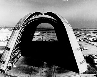 Moffett Federal Airfield - View of Hangar One, the huge dirigible hangar, with doors open at both ends