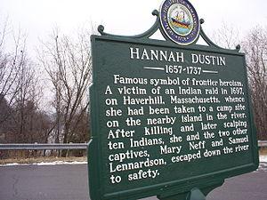 Hannah Duston - Hannah Dustin historical marker in Boscawen, New Hampshire