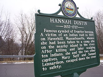 Hannah Duston - Hannah Dustin historical marker in Boscawen, New Hampshire