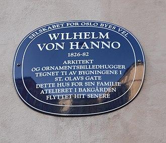 Wilhelm von Hanno - Plaque to von Hanno on St Olav's Gate, Oslo