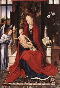Hans Memling - Virgin Enthroned with Child and Angel - WGA14913.jpg