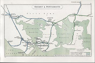 London, Brighton and South Coast Railway - A 1910 Railway Clearing House map, showing part of the lines around Portsmouth