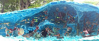 Eight Immortals - Diorama at Haw Par Villa, Singapore, depicting the battle between the Eight Immortals and the forces of the Dragon King of the East Sea.