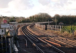 Hayle - Hayle viaduct from the modern station platform