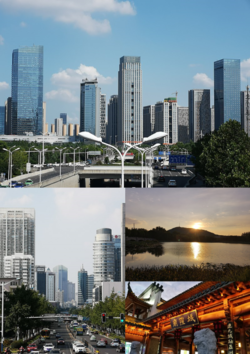 Montage of Hefei. Clockwise from top: Swan Lake Eastbank CBD, Dashushan, City God Temple of Luzhou-Fu and Downtown Hefei.