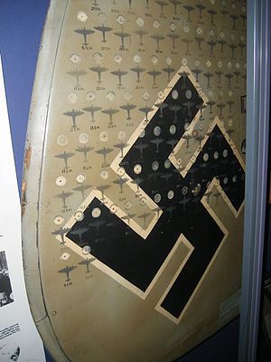 Heinz-Wolfgang Schnaufer - One of the tail fins of Heinz-Wolfgang Schnaufer's Bf 110. It displays all of his 121 victories, Imperial War Museum (2010)