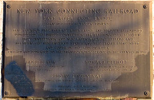 New York Connecting Railroad - Plaque on Hell Gate Bridge commemorating the opening of the NYCR in 1917