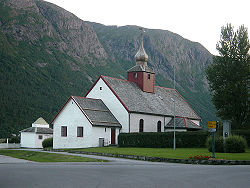 View of Hen Church in Isfjorden