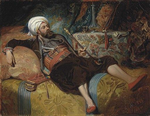 Henri Charles Antoine Baron - Un Turc fume couché (1844)