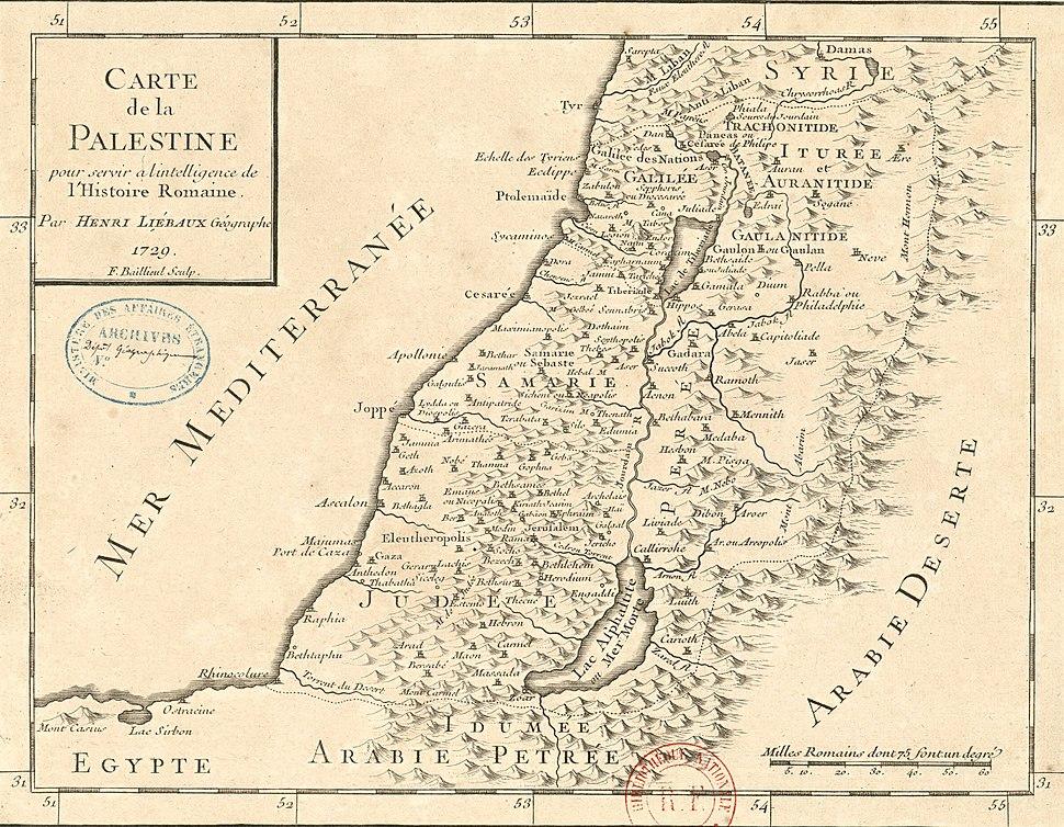 Henri Liébaux. Carte de la Palestine pour servir à l'intelligence de l'histoire romaine. 1729