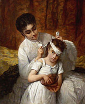 Painting showing a mother bandaging a young girl's head. Both are dressed in bright white and set against a rust-colored background. The girl is holding a rust-colored bowl and her reddish hair picks up the color of the background set against her mother's white dress.