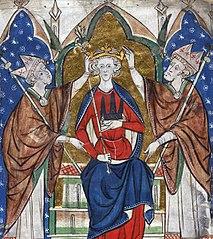 Primera coronación de Enrique III en 1216. Ilustración del siglo XIII