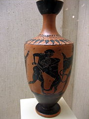 Hercules fight with Nemean lion black figure lekythos by the Painter of Athens 581 Museum of Cycladic Art in Athens.jpg