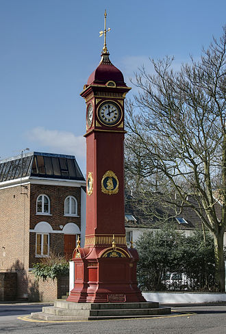 Highbury - Highbury Clock is located just north of Highbury Fields, near the junction of Highbury Barn and Highbury Hill. It was presented in 1897 in celebration of the 60th anniversary of the reign of Queen Victoria.