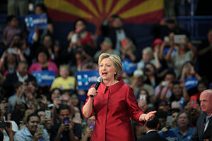 United States presidential election in Arizona, 2016 - Former Secretary of State Hillary Clinton at a campaign rally at Carl Hayden High School in Phoenix on March 21, 2016.