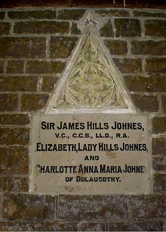 Dolaucothi Estate -  Memorial to Sir James Hills-Johnes in lychgate of St Cynwyl's Churchyard, Caio.