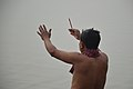 Hindu Devotee Prays To Sun And Ganga With Incense - Makar Sankranti Observance - Howrah 2018-01-14 6940.JPG