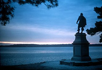 James River - Statue of Captain John Smith at Historic Jamestowne, overlooking the river.