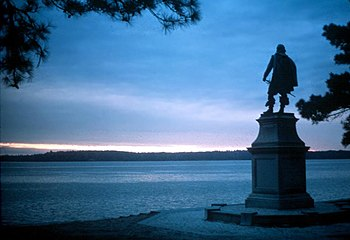 A statue in Historic Jamestowne commemorating ...