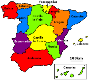 "1833 territorial division of Spain - The ""historic regions"" of Spain, as listed in the 1833 decree."