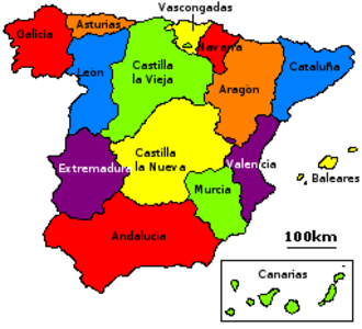 """1833 territorial division of Spain - The """"historic regions"""" of Spain, as listed in the 1833 decree."""