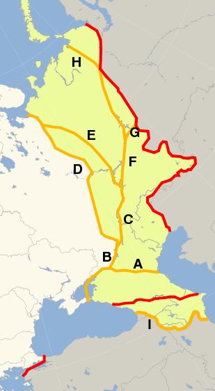 Historical Europe-Asia boundaries 1700 to 1900