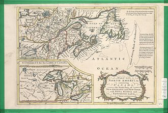 Peace of Utrecht - North America in 1760, immediately before the Treaty of Paris. Note that New England was at this time depicted as bordering the St. Lawrence River, that New York State occupied the geographic area of Upper Canada or Ontario, that Pennsylvania occupied much of the region to the south of Lake Erie and that Nova Scotia had not yet been divided by New Brunswick.