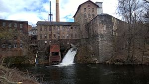Hockanum River - The Hockanum River flowing through a textile mill in Downtown Rockville, Connecticut.