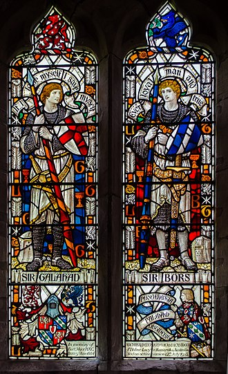 Bors - Sir Galahad and Sir Bors in a stained glass window in St Cuthbert's Church, Holme Lacy, in memory of Sir Archibald Lucas-Tooth, 2nd Baronet
