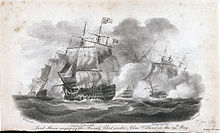 Depiction of a naval battle. A ship in full sail, flying the Union flag from its top mast, engages with enemy ships which are largely obscured by gunsmoke, although some have clearly suffered damage.
