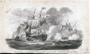 HMS Bellerophon (1786) - Lord Howe engaging the French Fleet under Adm Villaret on the 29th May, a 1799 aquatint after Nicholas Pocock, showing Howe's flagship, Queen Charlotte cutting the French line. Emerging through the smoke behind her and following the commander in chief through the line is Bellerophon.