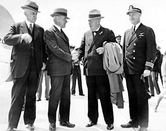 William Harrison Standley - Standley shaking hands with Hugo Eckener during the official welcome of the Hindenburg to the United States in 1936