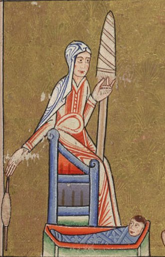 History of women in the United Kingdom - A depiction of an English woman c. 1170 using a spindle and distaff, while caring for a young child
