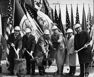 Groundbreaking - Groundbreaking ceremony for Hunts Point produce market, New York City, 1962