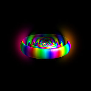 Rydberg atom - Figure 1: Electron orbital of a Rydberg atom with n=12. Colors show the quantum phase of the highly excited electron.