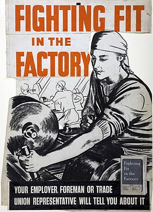Home front during World War II - INF3-160 Fighting Fit in the Factory. Artist: A. R. Thomson.
