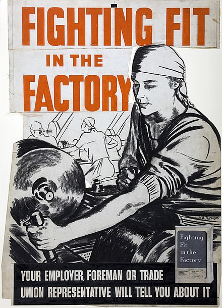 INF3-160 Fighting Fit in the Factory. British poster by A. R. Thomson INF3-160 Fighting Fit in the Factory Artist A R Thomson.jpg