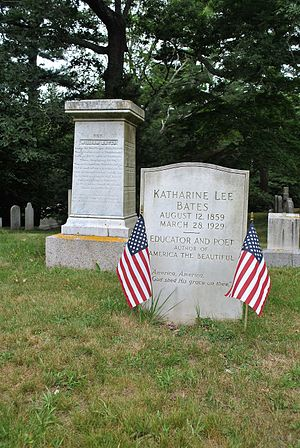 Katharine Lee Bates - Oak Grove Cemetery, Falmouth, MA, new monument from the Falmouth town