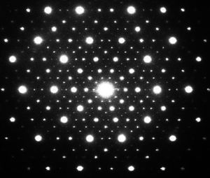 Paul Steinhardt - The electron diffraction pattern for icosahedrite, the first natural quasicrystal, obtained by aiming the electron beam down a fivefold axis of symmetry. The patterns correspond perfectly (up to experimental resolution) with the fivefold patterns first predicted by Paul Steinhardt and Dov Levine in the 1980s for an icosahedral quasicrystal.